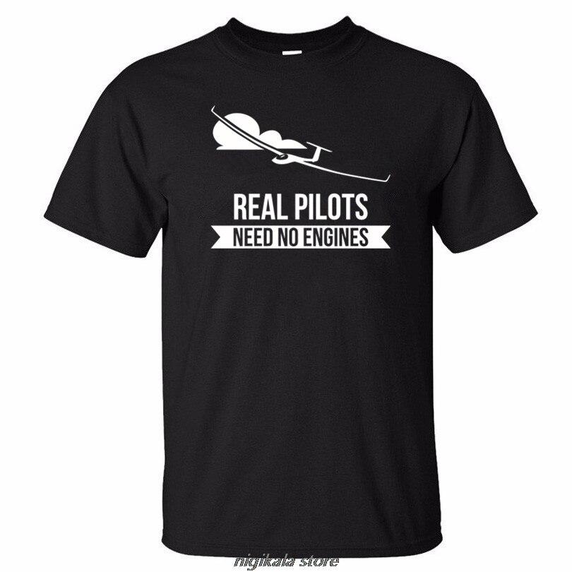Real Pilots Need No Engines Sailplane Or Glider Design Summer Men Short Sleeve T-shirt Print Man  3d T Shirt K223xs 4xl5xl