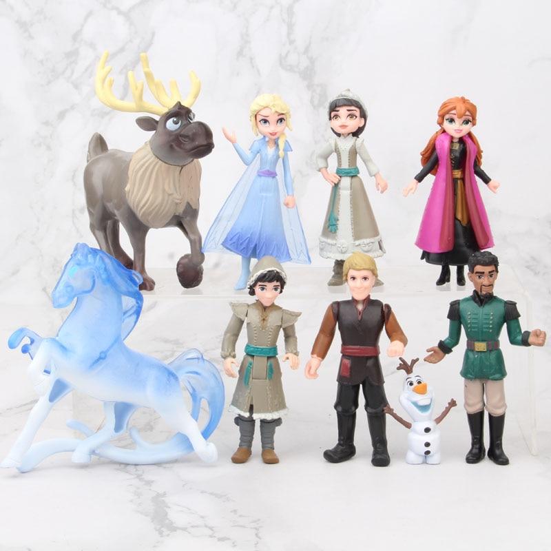 Disney Frozen 2 Snow Queen Elsa Anna PVC Action Figure Olaf Kristoff Sven Anime Dolls Figurines Kids Toy Children Gift