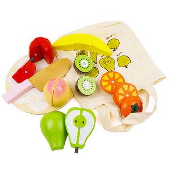 Children's wooden cut fruits and vegetables early education cognitive early education toys play house fruit kitchen cloth bag цена 2017