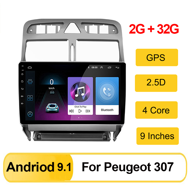 2din Android 9.1 <font><b>Car</b></font> Multimedia MP5 player for <font><b>Peugeot</b></font> <font><b>307</b></font> 307CC 307SW 2002-2013 <font><b>Car</b></font> <font><b>Radio</b></font> GPS navigation Head Unit Audio FM BT image