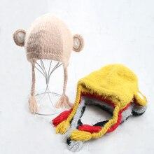 Boys Girls Hats Kids Winter Plush Inside Caps Earmuffs Hat For Children Baby Girl Animal Shape Wool Soft