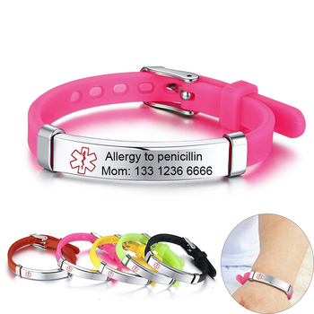 Personalize Custom Kids Medical Alert ID Bracelets for Boys Girls Anti Allergy Stainless Steel Silicone Emergency Remind Info