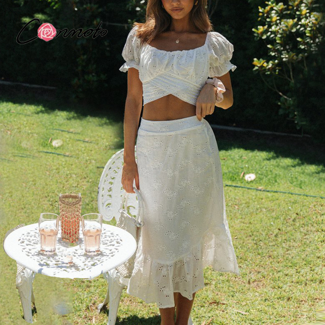 Conmoto Casual two-piece mesh white lace dress women Vintage bandange short crop top suit summer Puff sleeve holiday dress sets 2