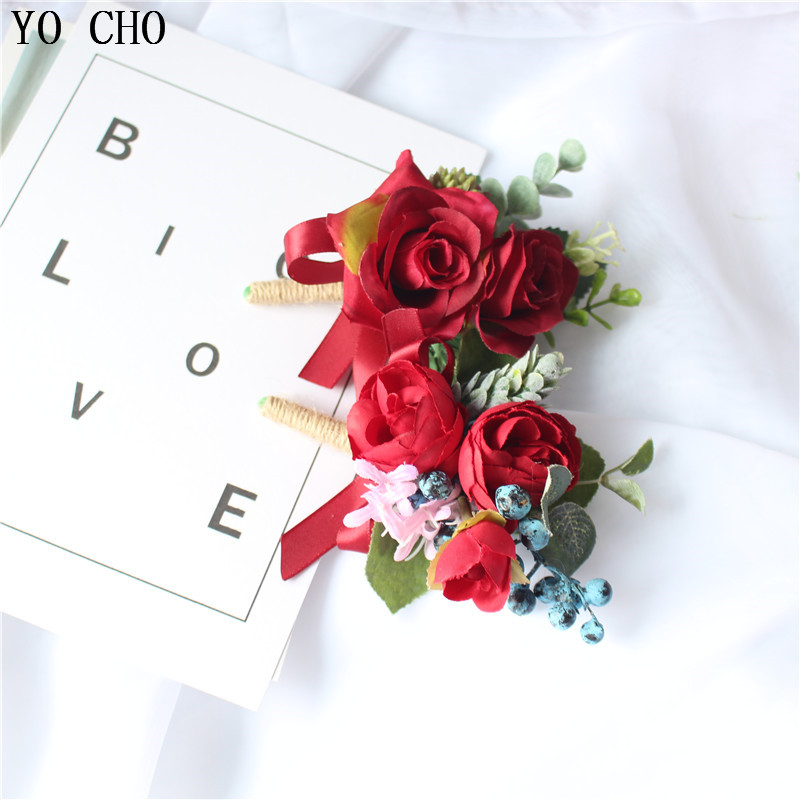 Dropshipping Silk Wrist Flower Artificial Rose Bridesmaid Brooch Decorative Man Boutonniere Wedding Party Dress Accessories