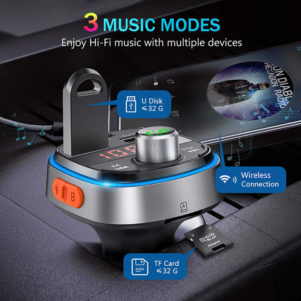 3 USB Ports VicTsing Bluetooth FM Transmitter Music Player Support U Disk//TF Card USB C PD /& Enhanced Bass Car Bluetooth Adapter with 7 Color LED Backlit