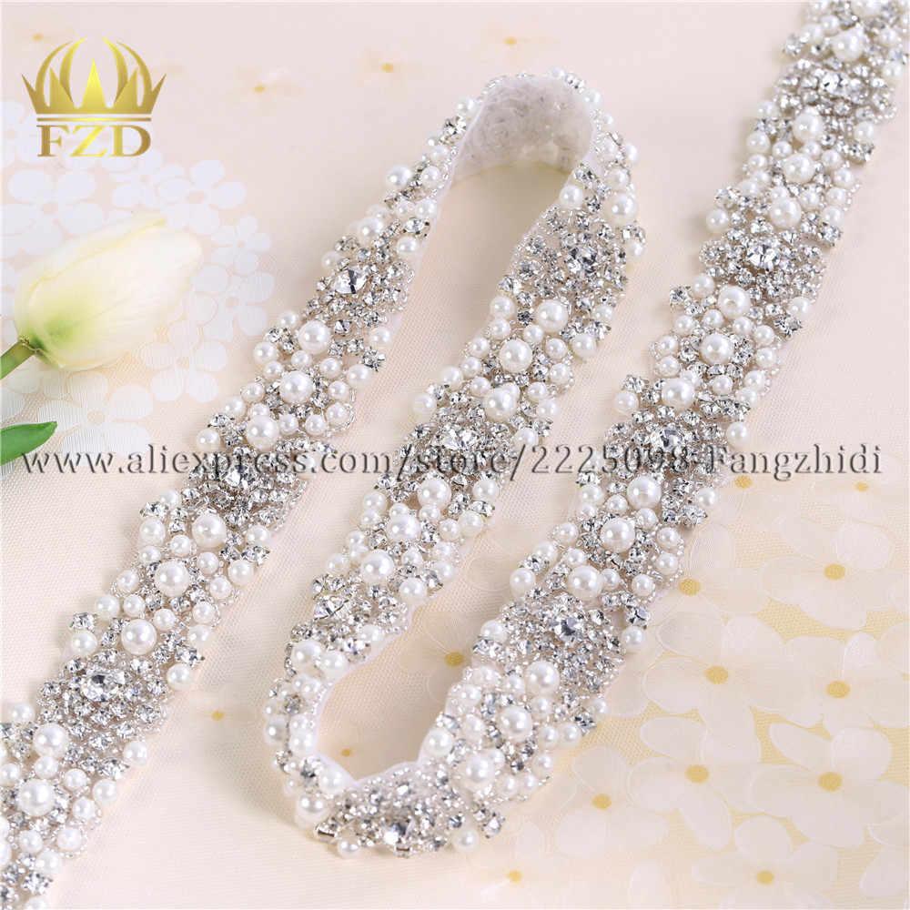 1 Yard Strass di Cristallo Del Vestito Applique argento in rilievo trim per il vestito da cerimonia nuziale di strass e perle applique by the yard