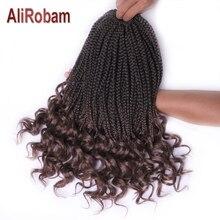 AliRobam вьющиеся концевые коробки коса деграде коричневый или бордовый синтетические косички для наращивания плетения волос 22 пряди/упаковка