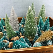 12pcs Mini Christmas Tree Sisal Snow Tower Pine Decoration Small -Gold Silver Green Xmas Home Decor