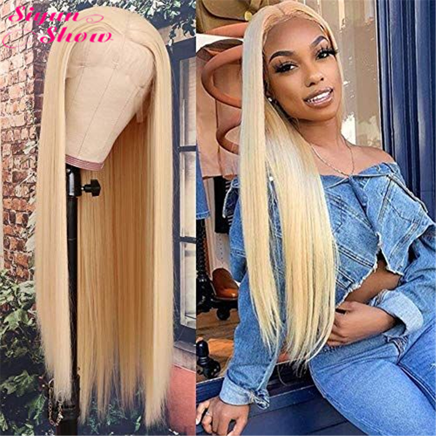 Siyun Show 613 Lace Front Wig Honey Blonde Peruvian Straight Wig 613 Remy Glueless Full Lace Front Human Hair Wigs For Women image