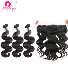 Ali Sugar Hair Brazilian Raw Virgin Hair Body Wave 3 Bundles With Frontal 13*4 Lace Natural Color Human Hair Extensions(China)