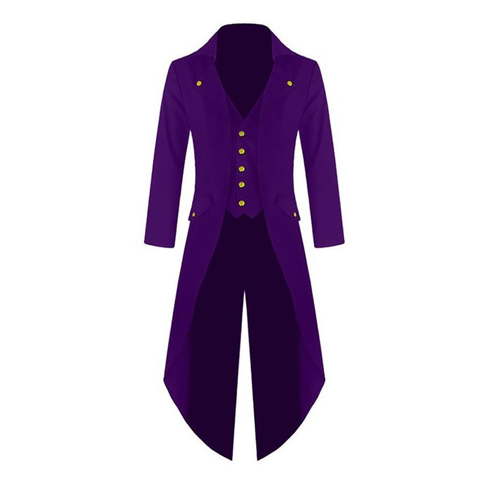 Jacket Men Vintage Gothic Steampunk Long Sleeve Single Breasted Tailcoat Jacket Coat