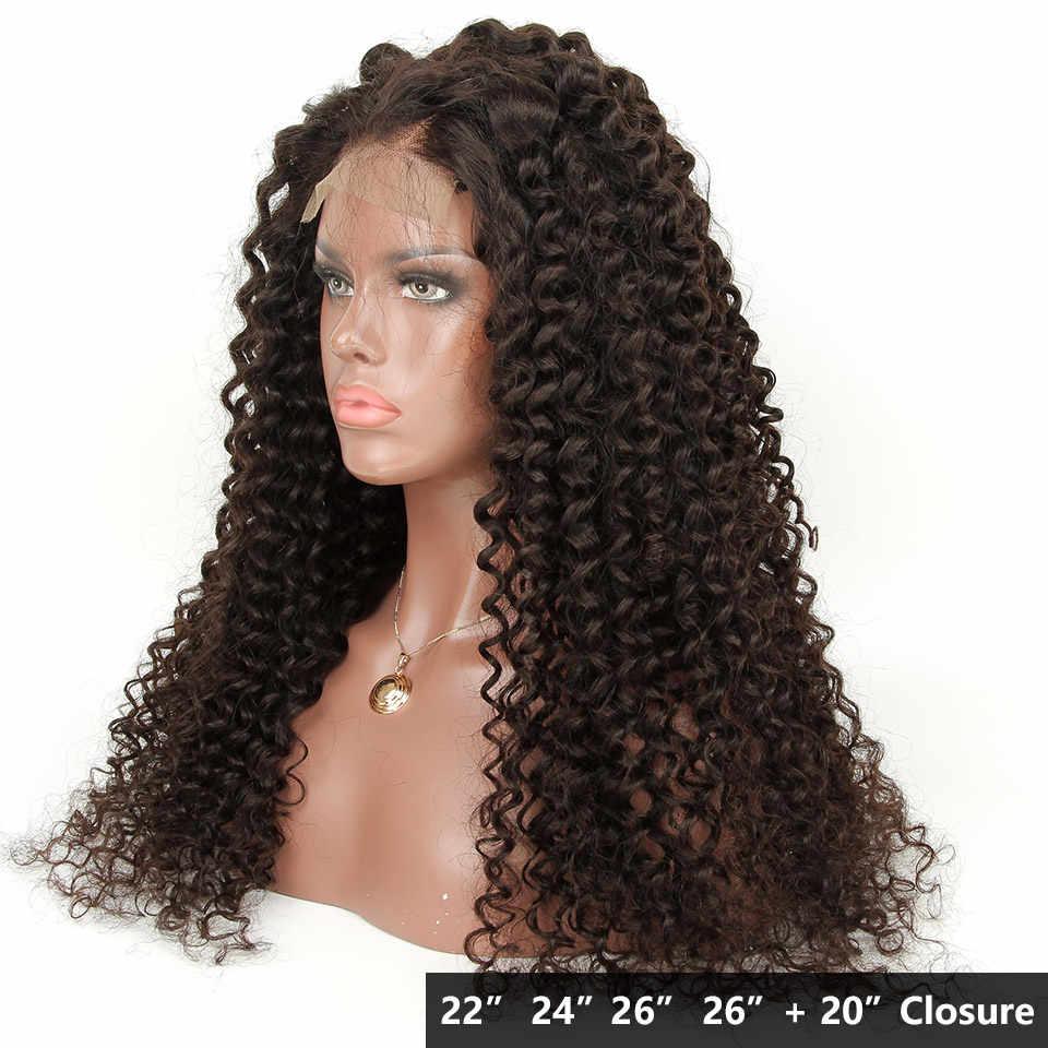 Yvonne кружево своими руками закрытие парик глубокая волна человеческие волосы пучки с закрытием 4x4 бразильские человеческие волосы парики