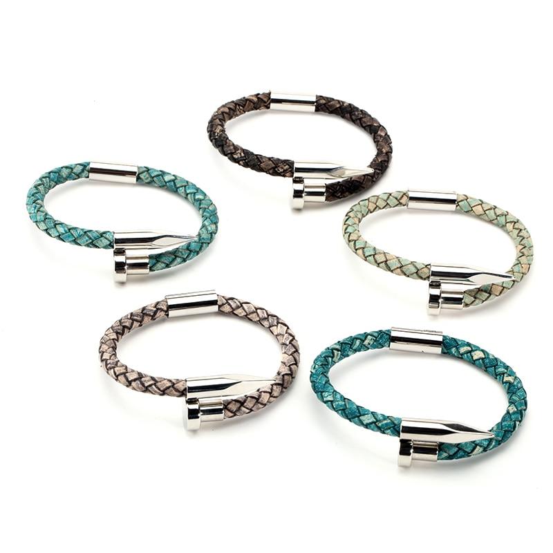 Mcllroy Bracelet hommes Vintage en cuir véritable acier inoxydable fermoir magnétique bracelets pour femme hommes bijoux 2018 erkek bileklik 3