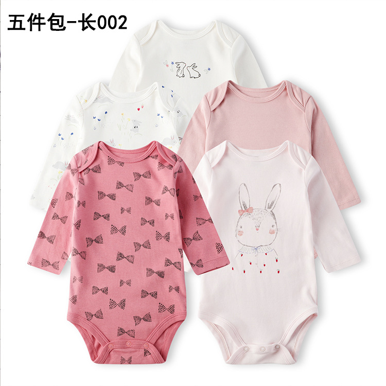 19 New Style Autumn & Winter Infants Long Sleeve Onesie Five-Piece Packaging Onesie Pure Cotton Triangle Romper Crawling Clothes