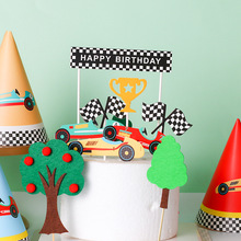 Small Car Theme Happy Birthday Cake Topper  Kids Baby Shower Birthday Party Cartoon Cupcake Toppers Candy Bar Cake Suppliies dinosaur theme happy birthday cake topper candy bar baby shower kids party supplies child birthday party cartoon decoration