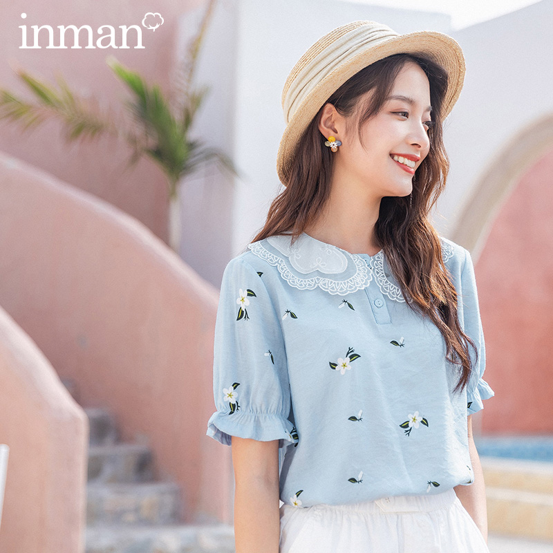 INMAN 2020 Summer New Arrival Cute Petal Collar Elastic Sleeve  Front Button Shivering Peter Pan Shirt