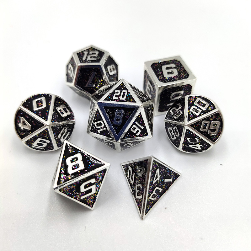 Upscale <font><b>Metal</b></font> Dice D&D Polyhedral Dice Set 7pcs/Set Rpg Polydice Dados Rol D4 -<font><b>D20</b></font> Board Game Dices MTG Math Teaching image