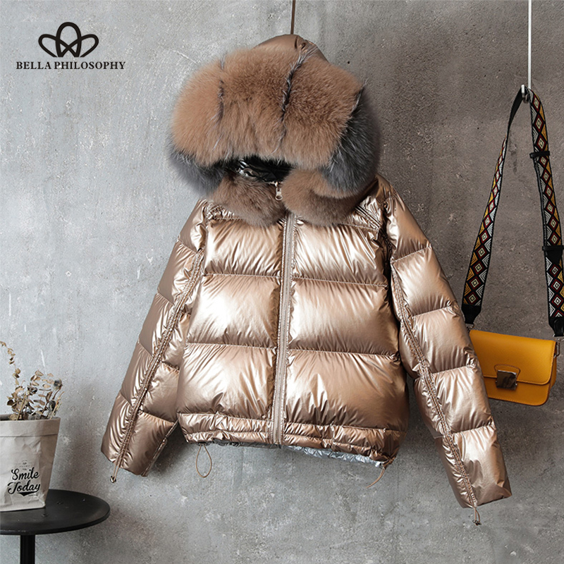 Bella Philosophy Double Sided Down Long Jacket Winter Fur Collar Gold Duck Down Coat Padded Warm Parkas Snow Thick Outerwear