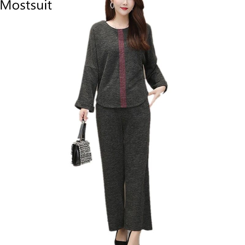 Autumn Winter Grey Two Piece Sets Outfits Women Plus Size Long Sleeve Tops And Pants Suits Elegant Fashion Korean 2 Piece Sets 29