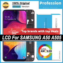 100% original 6.4 amamamoled display para samsung galaxy a50 2019 a505f/ds a505f a505fd a505a tela de toque lcd completo + serviço pacote