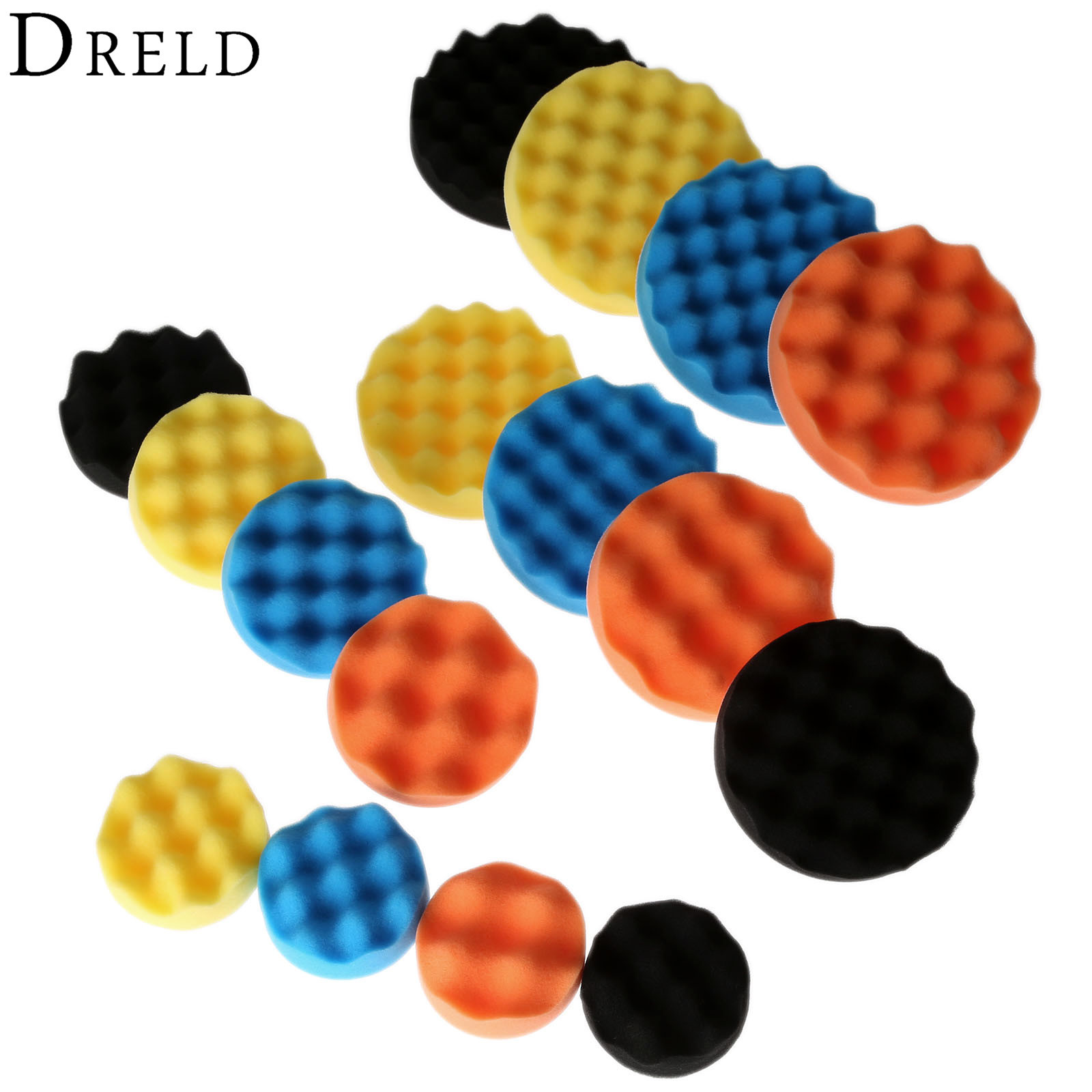 DRELD 4pcs 3/4/5/6 Inch Sponge Buffing Polishing Pad Hand Tool Kit For Car Polisher Buffer Wax Cleaning Tool 80/100/125/150MM