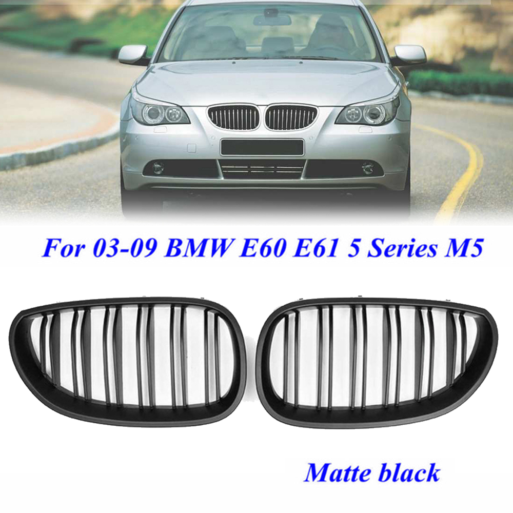 2pcs Car Front Kidney Grille Set For <font><b>BMW</b></font> <font><b>5</b></font> <font><b>Series</b></font> M5 <font><b>E60</b></font> E61 2003-2010 Glossy/Matte Black Auto Replacement Parts image