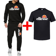 Brand Tracksuit Fashion Ellesse Men Sportswear Three Piece Sets All Cotton Fleece Thick hoodie Pants Sporting Suit T-shirt Male(China)