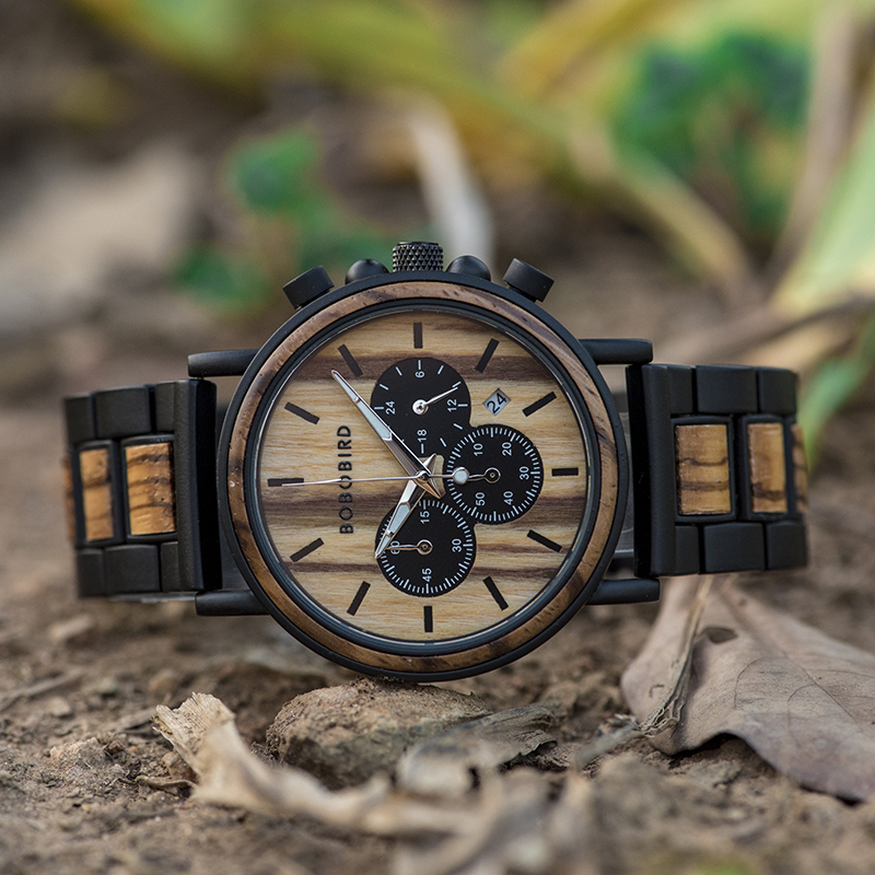 Image 4 - BOBO BIRD Wood Watch Men Stopwatch Chronograph relojes hombre Show Date Wooden Quartz Wristwatch Male Timepieces In Gift Box-in Quartz Watches from Watches