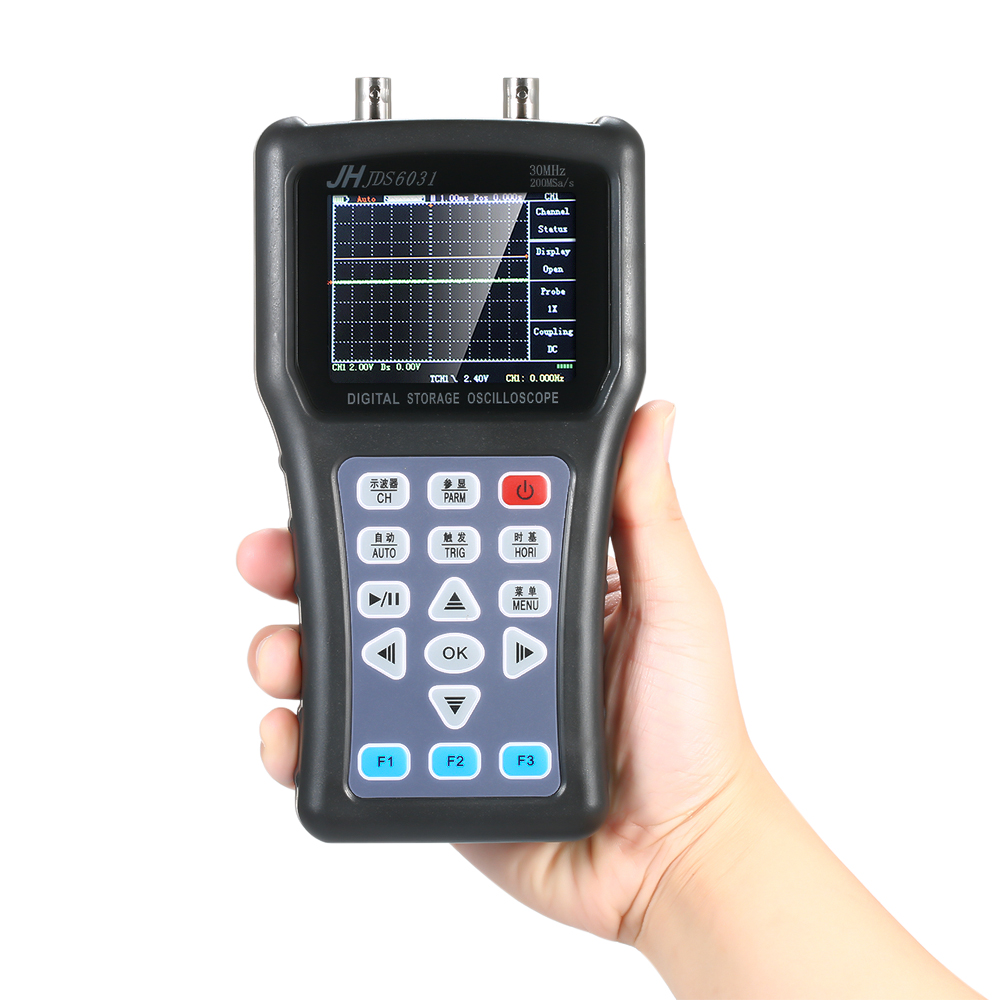1CH Handheld Digital Oscilloscope Âmbito Medidor Portátil 30MHz 200MSa/s com Carregador USB Conjunto Cabo usb Osciloscópio Sonda