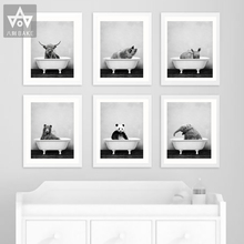 Giraffe Bear Lion Tiger Wall Art Canvas Painting Posters and Print Animal In Bathtub Wall Pictures for Living Room Black White
