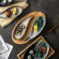 Japanese snack tray creative cold cut snack small dish ceramic sushi plate fruit plate household tableware daily tableware