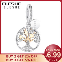 ELESHE Authentic 925 Sterling Silver Family Tree Of Life Charm Gold Bead Fit Original Pandora Charm Bracelet Pendant DIY Jewelry(China)