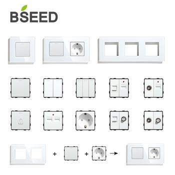BSEED Wall włączniki światła Panel szklany części białe gniazda USB funkcja części DIY ue CAT5 gniazda TV listwa sieciowa części tanie i dobre opinie CN (pochodzenie)