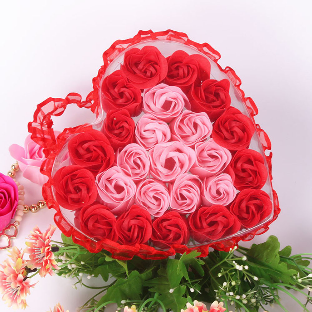 24pcs Bath Soap Rose Flower Petal Soaps With Heart Box Surprise Gift Wedding Decoration Creative Valentine'S Day Gift   #YJ2