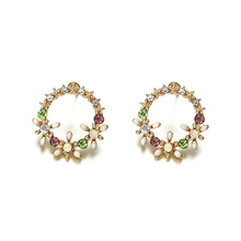 2019 Earrings Pendientes Hot Sale Brinco Simple 100 Sets Of Fashion Fresh Personality Wreath Drop Oil Ring Direct Wholesale