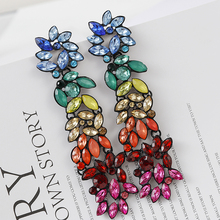 Lifefontier Rainbow Color Rhinestone Long Drop Earrings For Women Fashion Statement Personality Crystal Earring Wedding Jewelry колонки perfeo cursor pf 601 2x3 вт usb черный