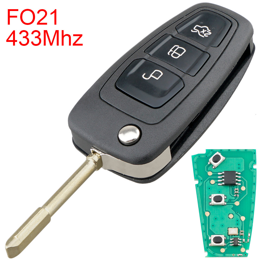 433Mhz 3 Buttons Flip <font><b>Remote</b></font> Car <font><b>Key</b></font> Fob with F021 Blade Fit <font><b>for</b></font> <font><b>Ford</b></font> <font><b>Focus</b></font> / Mk1 / Mondeo image