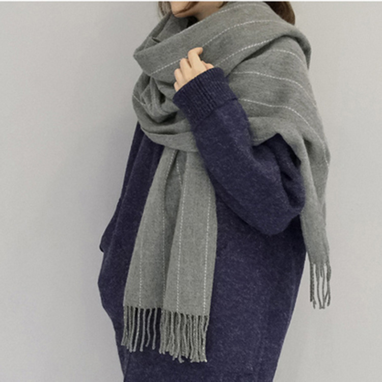 Korean-style Winter Women's Retro Tassels Scarf Hot Selling Vertical Striped Faux Cashmere Couples Warm Shawl On Wholesale