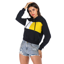 Casual Printed Crop Top Hoodies Women Long Sleeve Hooded Cotton Autumn Clothes Ladies Minimalist Style Sweatshirts Pullover
