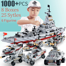 1000pcs ABS plastic model warships bricks navy ship army seals boat INGlys warship