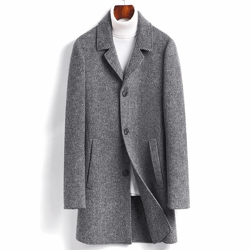 Men Long Double-faced Wool Coat With White Duck Down Inner Bladder men's Fashion Stripe Overcoat Single-Breasted Windbreaker