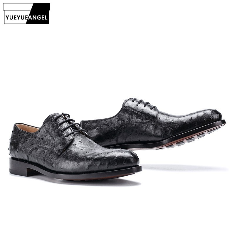 2020 New Men Business Work Genuine Leather Shoes Ostrich Skin Black High Quality Luxury Breathable Casual Leather Shoes Autumn
