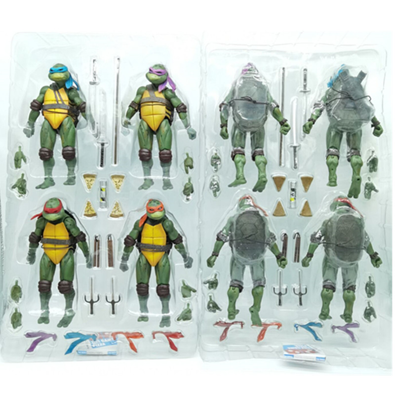 4 pz/set NECA Classic Movie Film 1990's Raffaello Leonardo Michelangelo Donatello Action Figure Collection Giocattoli di Modello della Bambola di 18 centimetri
