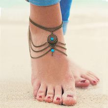 Retro Antique Gold Chain Anklets Summer Beach Bohemia Hollow Geometric Water Drop Ankle On Leg Foot Jewelry For Women