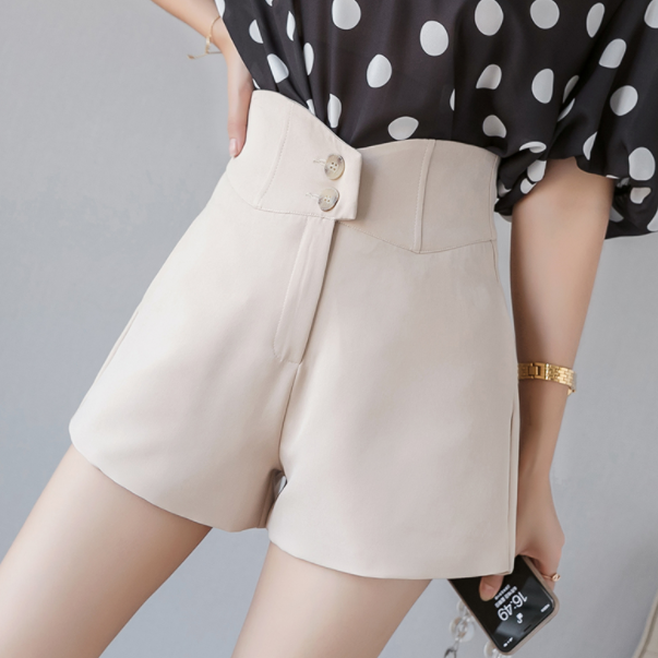 Buttons high waisted shorts for women 2020 summer thin slim loose short pants wide leg irregular chiffon shorts feminino DA34