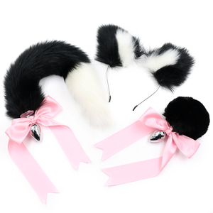 Image 2 - Black Cute ears Headbands with Fox / Rabbit Tail  Metal Butt Anal Plug Erotic Cosplay Accessories Adult Sex Toys for Couples