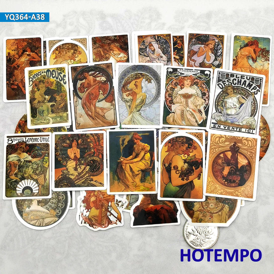 38pcs Illustration Art Mucha Style Fairy Oil Painting Diary Stickers For Stationery Scrapbook Mobile Phone Laptop Decal Stickers