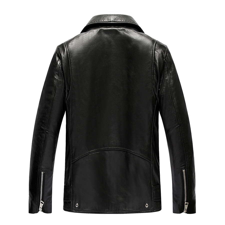 Genuine Leather Jacket Men Real Sheepskin Leather Bomber Jackets Spring Autumn Motocycle Plus Size Coat 19-811 MF620
