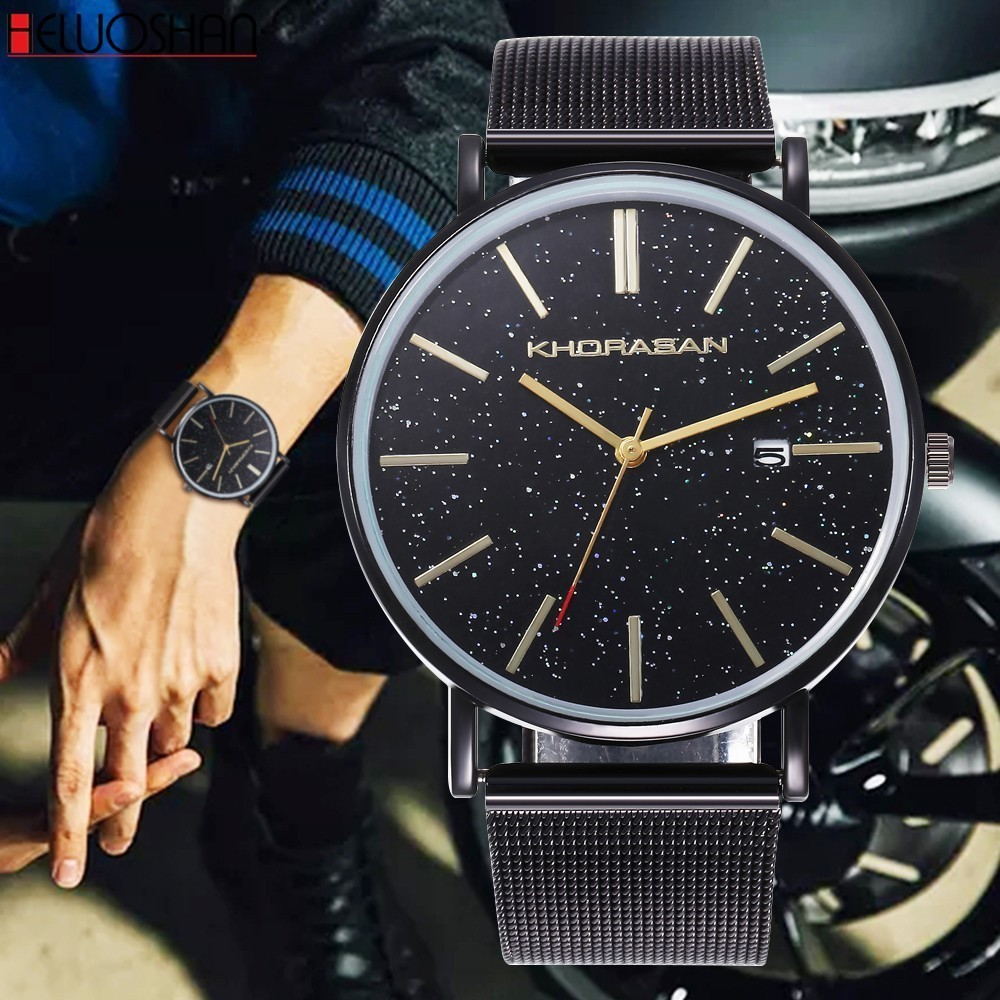 Watch Men Leather Casual Black Starry Sky Quartz Watch Stainless Steel Clock Male Relogio Man Watches Reloj Montre Homme