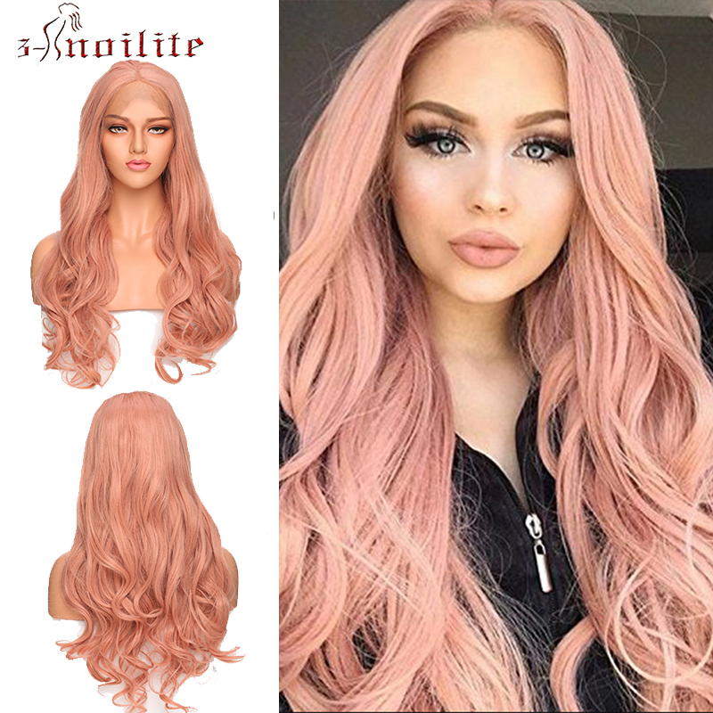 SNOILITE Synthetic Wigs Lace Front Wig Long Wavy Wigs Ombre Pink Purple Grey Lace Wig Heat Resistant Wigs For Women Cosplay Wig